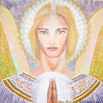 Doris Brown - Angel of Gold Frequency Acrylic on Canvas, Paintings