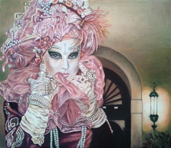 Sayumi Osanai - Venetian Mask 7 Oil on Canvas, Paintings