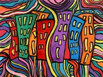 Linda Rosen - Dancing Buildings Acrylic on Canvas, Paintings
