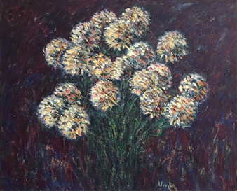 Mushegh Grigoryan - Chrysanthemums #2 Oil on Canvas, Paintings