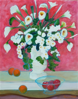 Martin Randall Joyce - Artificial Flowers with Fruit Acrylic on Canvas, Paintings