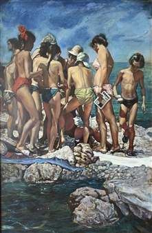 Alexandr Mischan - Gymnastics on the Black Sea (2 of 4) Tempera and Oil on Board, Paintings