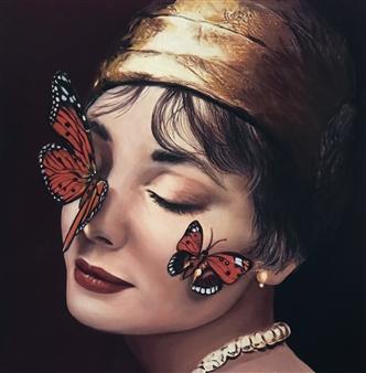 Mehrnosh Kaecker - Kissed by Butterflies Oil on paper, Paintings