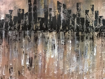 Lisa Sommers - Abstract City Acrylic & Spraypaint on Canvas, Paintings