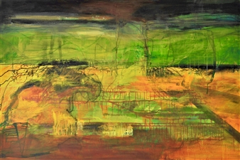 Annette Balsgaard - Green Sky Acrylic on Canvas, Paintings