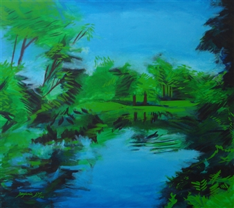 Benjamin L.M. - Lake In Central Park, New York, NY, USA Acrylic on Canvas, Paintings