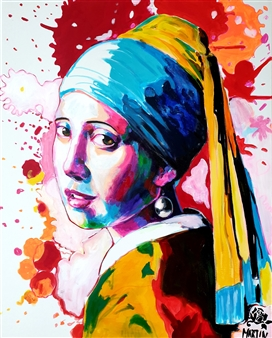 Peter Martin - Girl with the Pearl Earring Acrylic on Canvas, Paintings