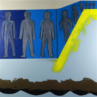 Joseph Masur - Transitional Elevation Acrylic & Pastel on Canvas, Paintings