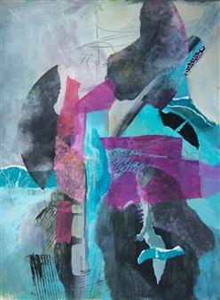 Pauline Rakis - Journey Acrylic & Collage on Canvas, Mixed Media