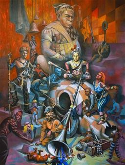 Mr. Sajja Sajjakul - No Fear Zone Oil on Canvas, Paintings