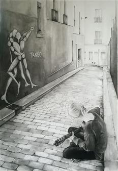 Cynthia Evers - Tango Gouache on Paper, Paintings