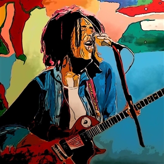 Monel Aliote - Bob Marley Acrylic on Canvas, Paintings