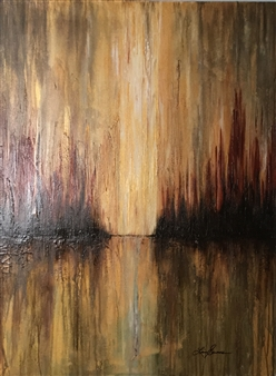 Lisa Sommers - Golden Sunrise Acrylic & Oil on Canvas, Paintings