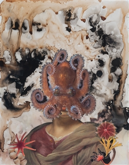 Evelyna Helmer - Dream Rooms no. 1 - Woman with Octopus Collage & Mixed Media on Paper, Mixed Media