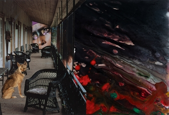 Evelyna Helmer - Dream Rooms no. 35 - The Porch Collage & Mixed Media on Paper, Mixed Media