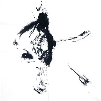 Sempu Nakajima - 冬 Winter Handmade Senshi paper, Original paper brush, Oil smoke ink, Mixed Media