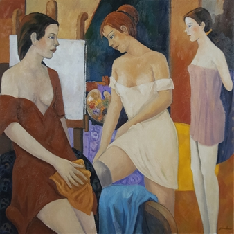 Stefano Puleo - Models in the Atelier Oil on Linen, Paintings