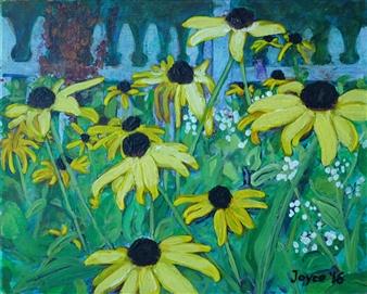 Martin Randall Joyce - Fading Susans Acrylic & Oil on Canvas Board, Paintings