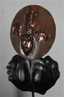 Venceslao Mascia - Dea Madre (Coral Necklace) Obsidian, Sardinian Coral, Copper, Sculpture