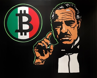 Gianpiero Palermo - Italian Bitcoin Acrylic on Canvas, Paintings