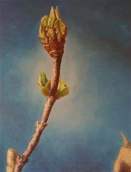 Jonathan Mann - Double Lilac Acrylic on Canvas, Paintings