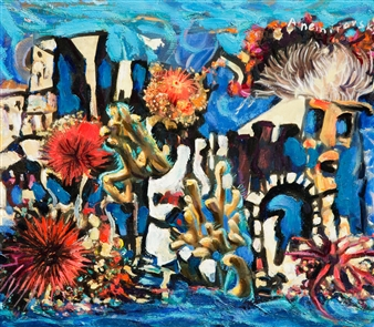 Alex Nemirovsky - Underwater Towns Series2 Acrylic & Oil on Board, Paintings
