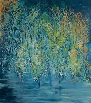 Zvia Merdinger - Blue Mosaic Mixed Media on Canvas, Mixed Media