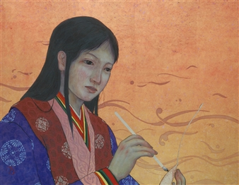 Akinori Ohtsuka - Heian Period Girl Mixed Media on Japanese Paper, Mixed Media