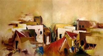Vasant Dora - Untitled 2 Oil on Canvas, diptych, Paintings