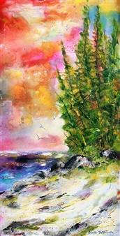 Caroline Degroiselle - My Secret Beach with Sky Trees Acrylic on Canvas, Paintings