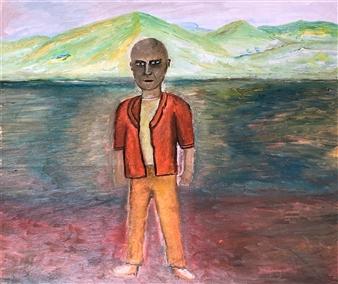 Merab Kardava - Main in Black Oil on Canvas, Paintings
