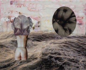 Evelyna Helmer - Dream Rooms no. 53 - Man with Feathers Collage & Mixed Media on Paper, Mixed Media