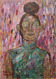 Masaoki Mitsutake - A Woman Above Her Chest No.1 Oil on Canvas, Paintings