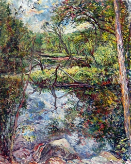 James Chisholm - Ipswich River at River Road, Topsfield Oil on Canvas, Paintings