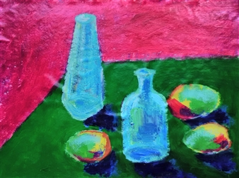 Yu He - Still Life 652 Acrylic on Canvas, Paintings
