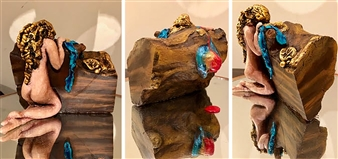 Zaineb Shaban - Warrior's Rest Wood with Acrylic, Modeling Paste & Resin, Sculpture