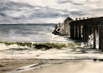 Nancy Holleran - Seacliff Cement Boat Watercolor on Paper, Paintings