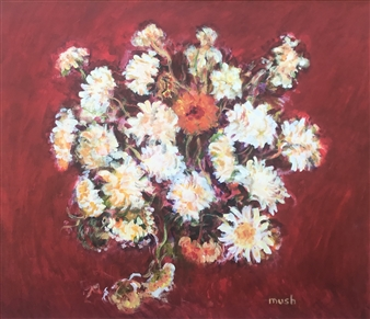 Mushegh Grigoryan - White Flowers Acrylic on Canvas, Paintings