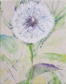 Jonathan Mann - Dandelion Seed Head (Taraxacum) Acrylic & Mixed Media on Canvas, Mixed Media