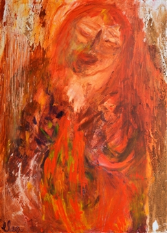 Clea von Döhren - Red Woman Mixed Media on Canvas, Mixed Media