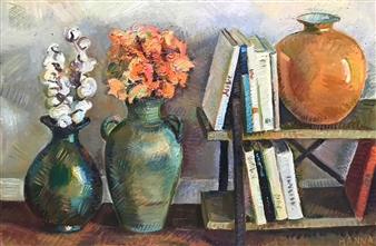 Hana Vater - Still Life with Book Shelf Oil on Canvas, Paintings