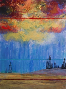 Janice Boswell Wueste - Bright Lights Mixed Media on Canvas, Mixed Media