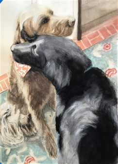 Nancy Holleran - Doggy Love Watercolor on Paper, Paintings
