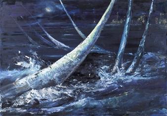 Arttiana - Night Regatta - 2 Oil on Canvas, Paintings