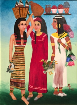 Ragaa Mansour - Three Egyptian Women Oil on Canvas, Paintings