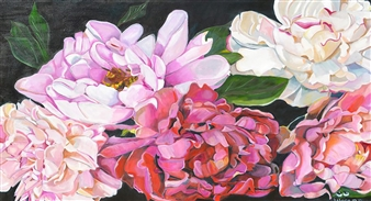 Helena McConochie - Waterdrops on Peonies 'Diana' Oil on Canvas, Paintings