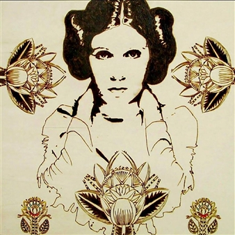 Carlo Proietto - Carrie Fisher Pyrography, Paintings