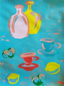 Yu He - Still Life No. 498 Acrylic on Paper, Paintings