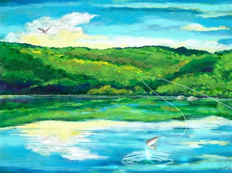 Michael Victor ▪ MVR - Nativescape Upstate Fishing Lake Hard Pastels with Multi-media, Prints
