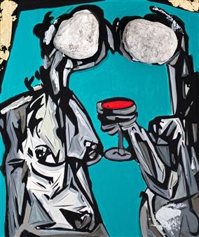 Sahar Khalkhalian - Memories of My Heart (Blue) Acrylic &  Mixed Media on Canvas, Mixed Media